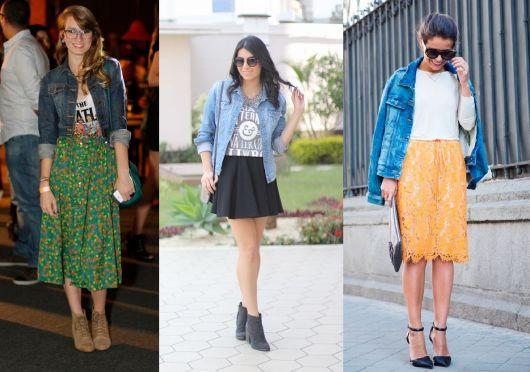 como usar jaqueta jeans - com saias