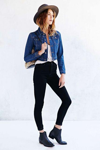 como usar jaqueta jeans -  cropped