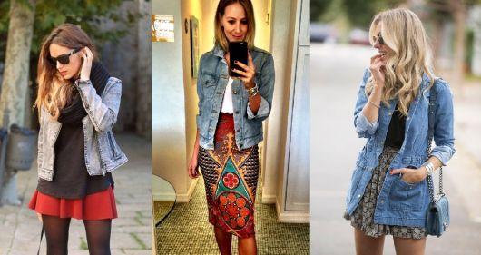 como usar jaqueta jeans - saias