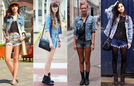 como usar jaqueta jeans - shorts jeans