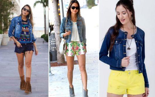 como usar jaqueta jeans - vários shorts