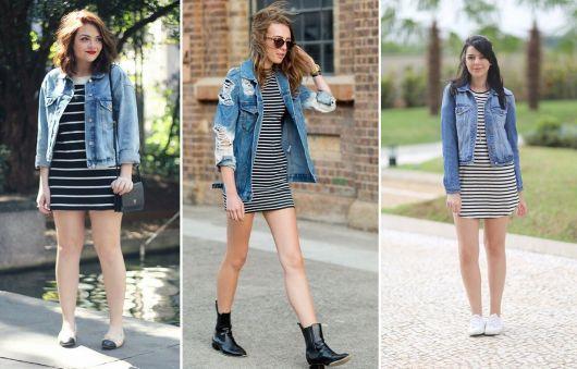como usar jaqueta jeans - vestidos listrados