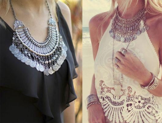 estilo boho colares metais
