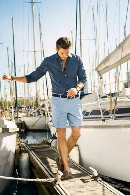 estilo casual masculino bermuda e camisa