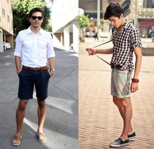 estilo casual masculino bermuda e mocassim