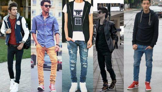 estilo casual masculino calça skinny e cano alto