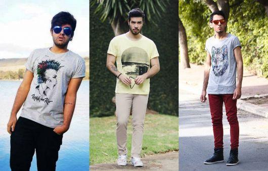 estilo casual masculino camiseta estampada