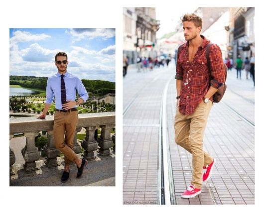 estilo casual masculino caqui e tenis