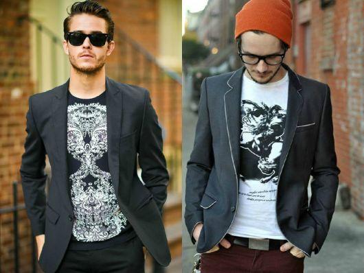 estilo casual masculino jaqueta e camiseta
