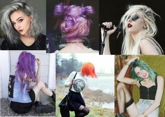estilo grunge cabelos coloridos