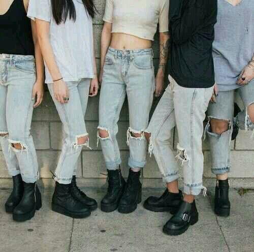 estilo grunge calça destroyed