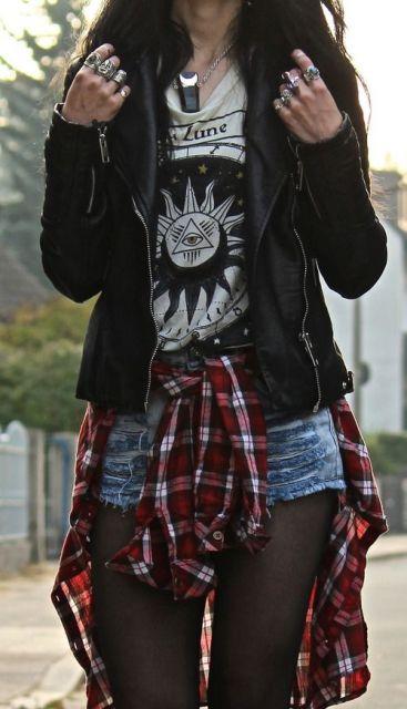 estilo grunge camisa xadrez