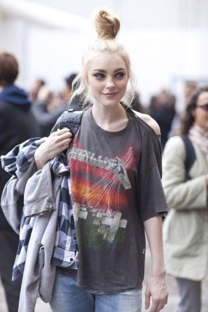 estilo grunge camiseta de banda
