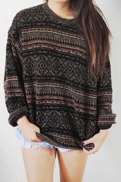 estilo grunge suéter