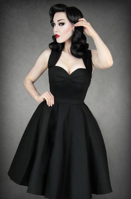 estilo pin up vestido preto longo