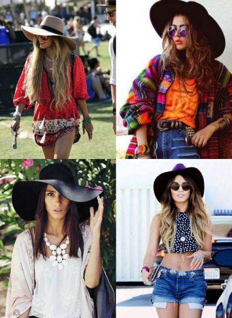 Modelos vestem chapéu floppy estilo folk ou folclore.