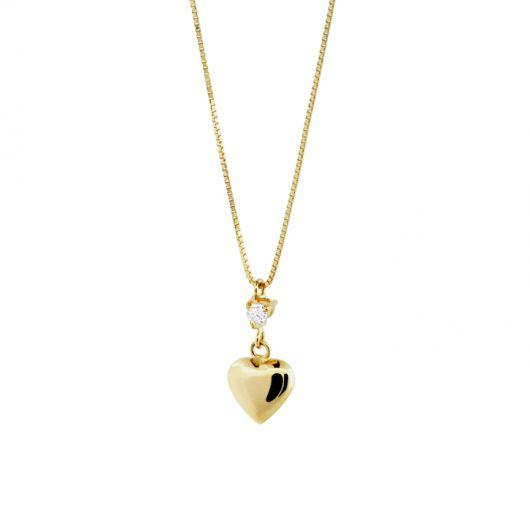 gargantilha de ouro de coração e pedra