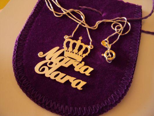 gargantilha de ouro com nome de filha