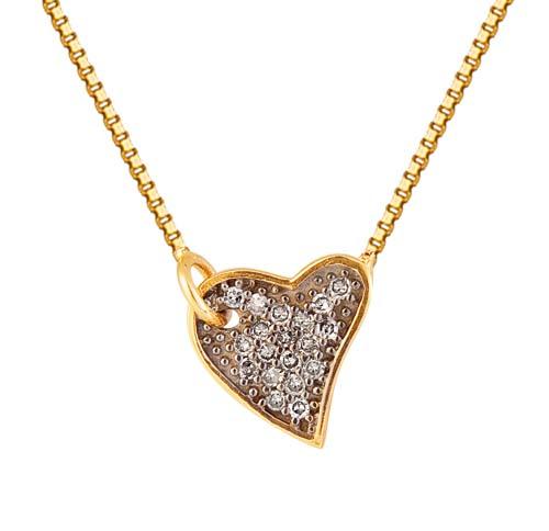 gargantilha de ouro com coração e pedras