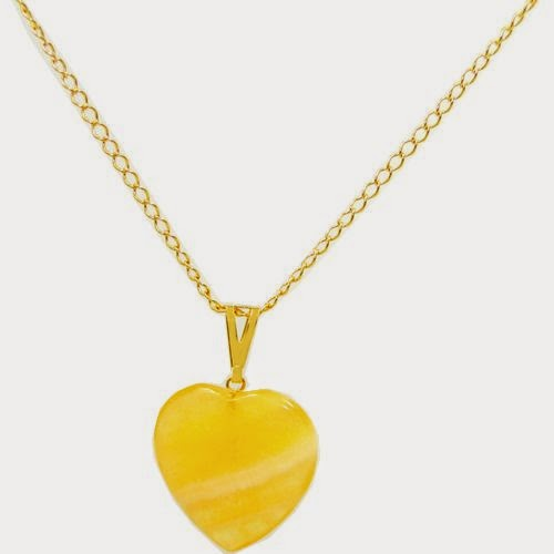 gargantilha de ouro coração de pedra amarela