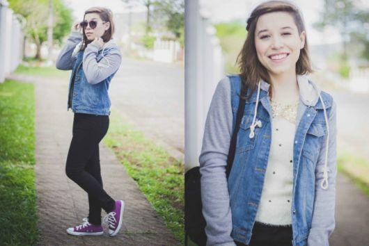 jaqueta jeans com manga de moletom look para escola