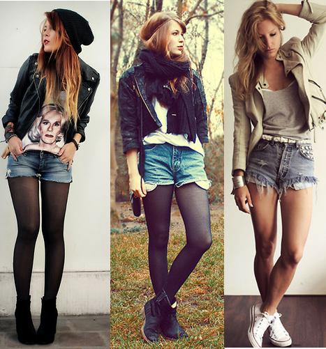 jaqueta de couro com shorts