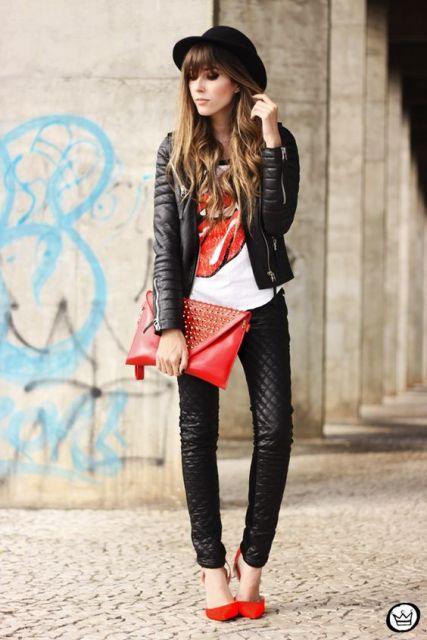 jaqueta de couro 14 com calça de couro