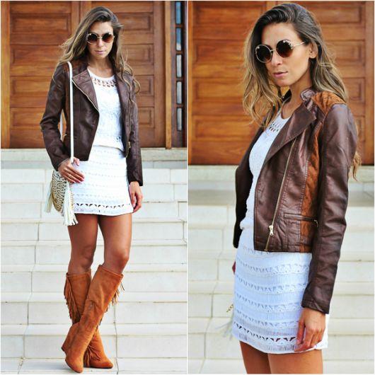 jaqueta de couro estilo boho