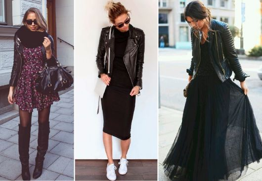 jaqueta de couro com vestidos