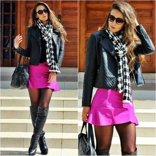jaqueta de couro com saia e cachecol