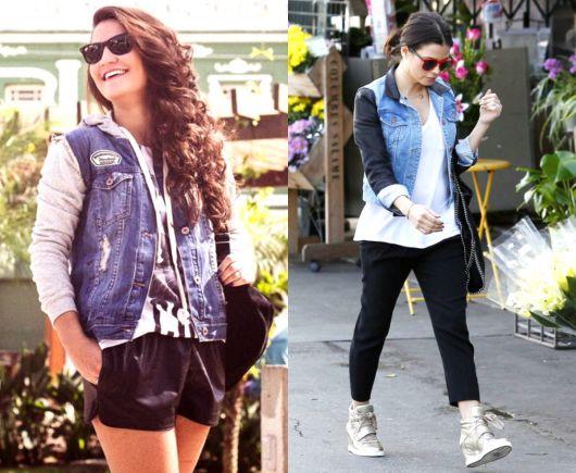 jaqueta jeans com manga de moletom para usar de dia