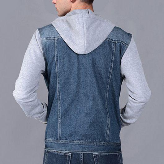 jaqueta jeans com manga de moletom masculina