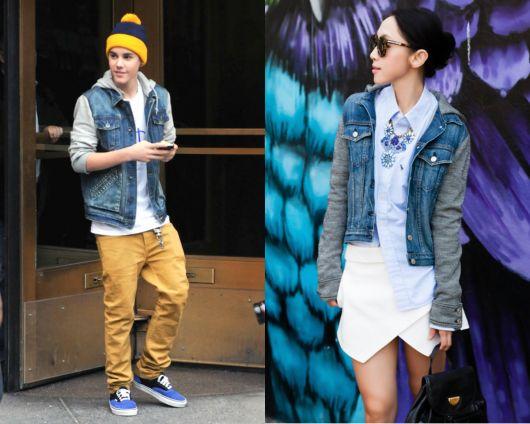 looks com jaqueta jeans com manga de moletom