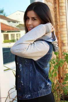 jaqueta jeans com manga de moletom onde comprar
