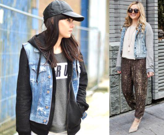 jaqueta jeans com manga de moletom modelos
