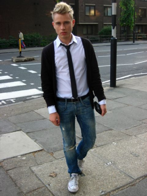 jeans com gravata slim