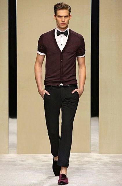 look casual com gravata borboleta