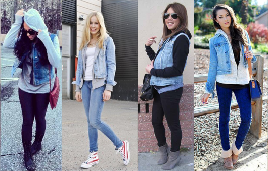 look casual com jaqueta jeans com manga de moletom