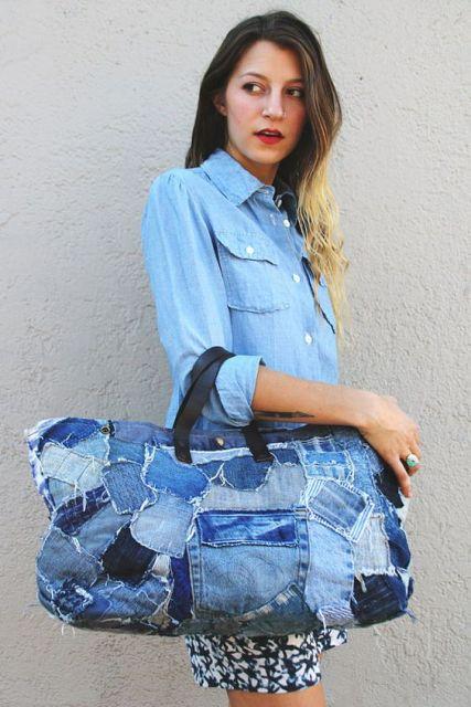 look com bolsa jeans de mão