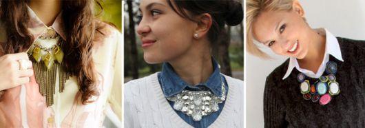 blusa gola alta com maxi colar