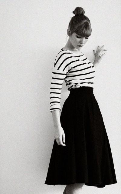 exemplo de looks anos 60 femininos listras