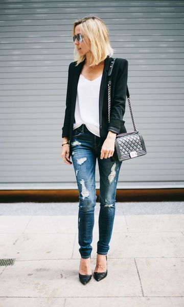 84740d7af3 exemplo de looks com blazer jeans e t-shirt despojados