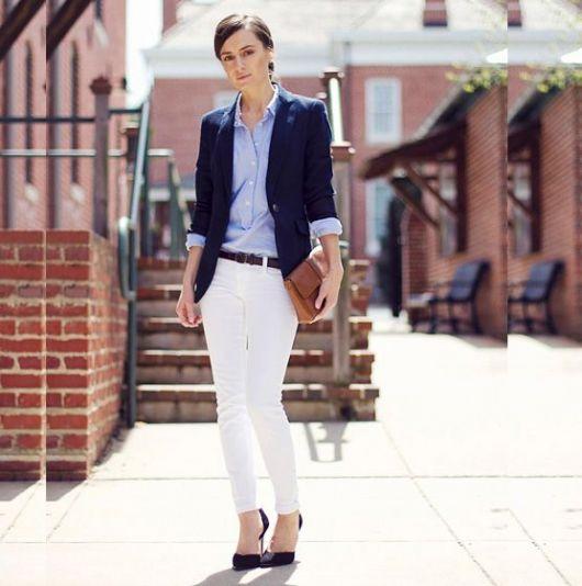 exemplo de looks com blazer e camisa elegantes