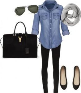legging preta e camisa jeans