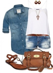 Look short regata e camisa jeans