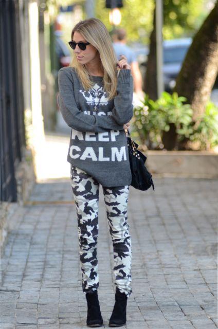 calça legging militar para ir ao shopping