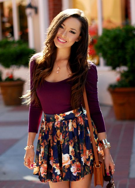 saia skater floral em look para shopping