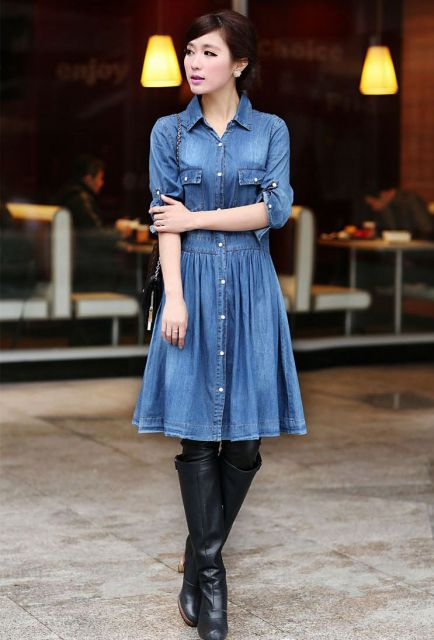 vestido jeans com saia drapeada para shopping