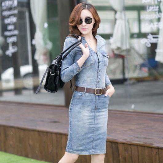 vestido jeans em look para shopping