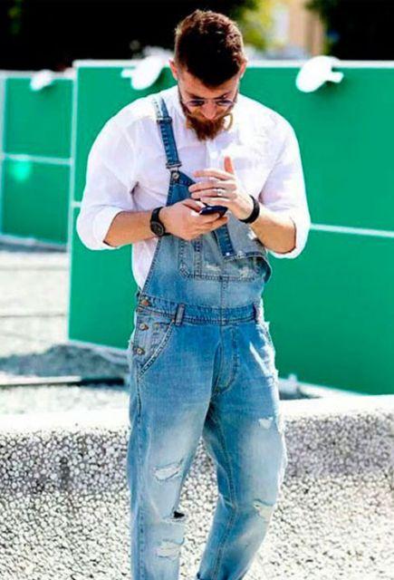 macacão masculino jeans para homens